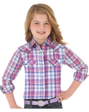Wrangler Girls' Purple Plaid Western Snap Down Shirt , White, hi-res
