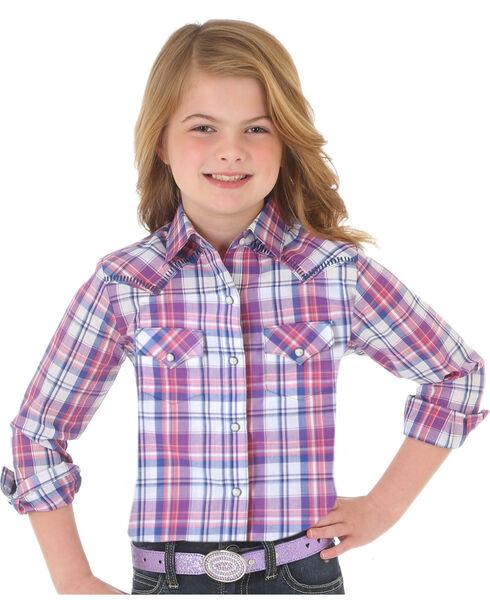 Wrangler Girls' Purple Plaid Western Snap Down Shirt , White, hi-res