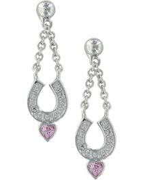 Montana Silversmiths Women's Silver Balanced in Love Horseshoe Earring, , hi-res