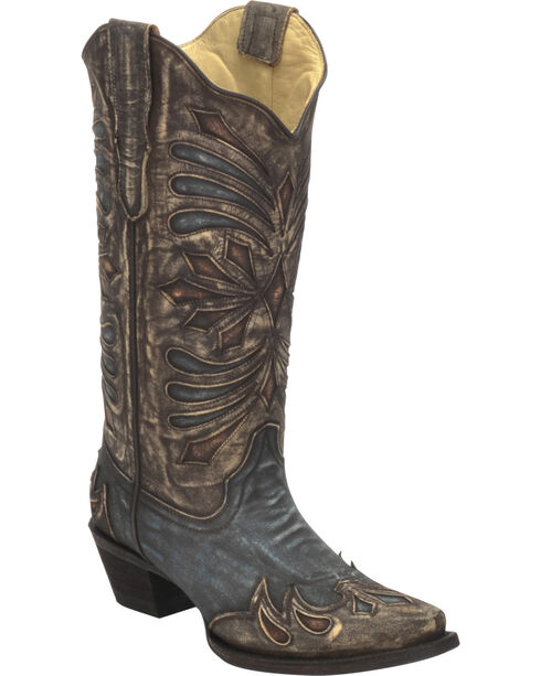 Corral Women's Diamond Embroidered Snip Toe Western Boots, Brown, hi-res