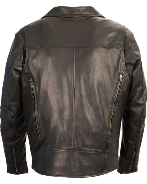 Milwaukee Leather Men's Black Lightweight Extra Long Biker Jacket - Big 4X , Black, hi-res