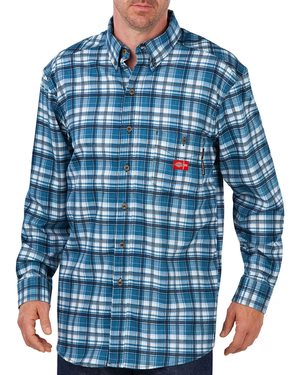 Dickies Men's Flame Resistant Long Sleeve Plaid Shirt - Big & Tall, Blue, hi-res