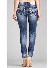 Miss Me Women's Indigo Embroidered White Stone Jeans - Skinny , , hi-res