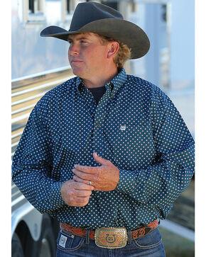 Cinch Men's Forest Green Geo Print Long Sleeve Button Down Shirt, Green, hi-res