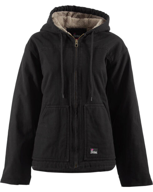 Berne Women's Washed Sherpa-Lined Hooded Coat - 3X & 4X, Black, hi-res