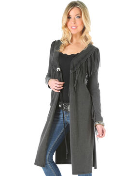 Wrangler Women's Fringe Black Mineral Wash Duster, Black, hi-res