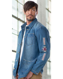 Ryan Michael Men's Denim Embroidered Jacket, , hi-res