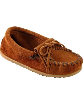 Kids' Minnetonka Kilty Suede Moccasins, Brown, hi-res