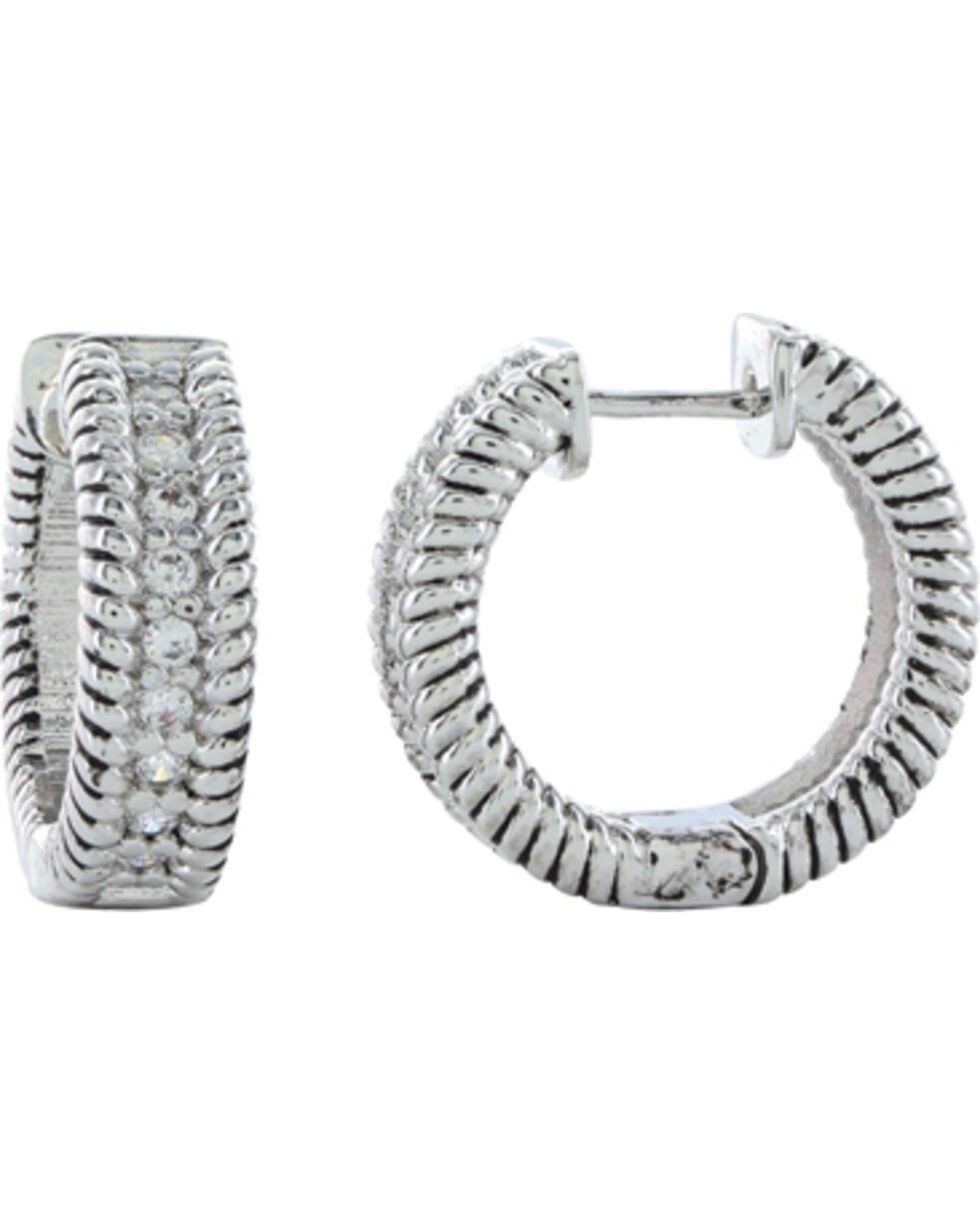 Montana Silversmiths Roped in Brilliance Hoop Earrings, Silver, hi-res