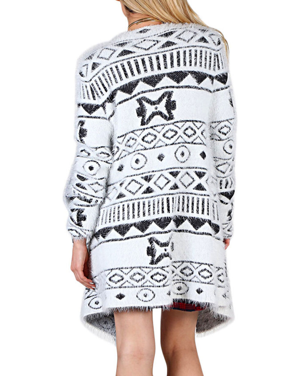 Shyanne® Women's Tribal Patterned Draping Cardigan, White, hi-res