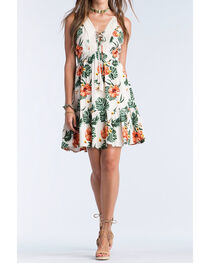 Miss Me Women's Khaki Spaghetti Strap Floral Dress , , hi-res