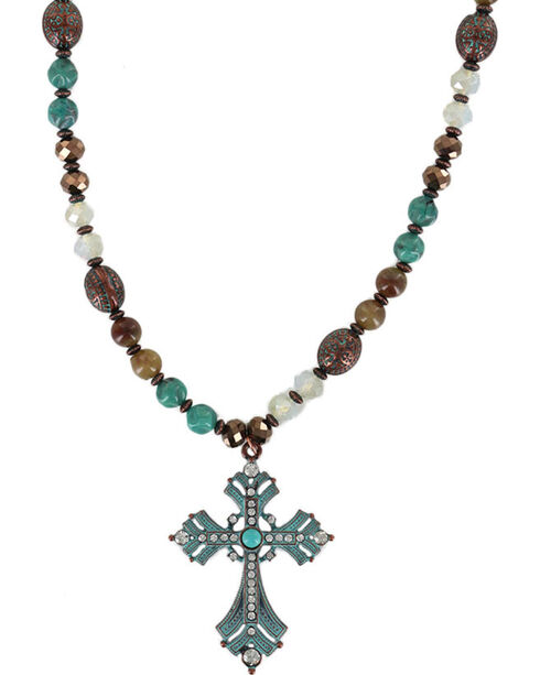 Shyanne® Women's Rhinestone Cross Necklace , Turquoise, hi-res