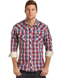 Rock & Roll Cowboy Men's Poplin Plaid Long Sleeve Snap Shirt, , hi-res