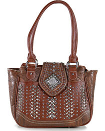 Montana West Women's Rhinestone Studded Flap Handbag, , hi-res