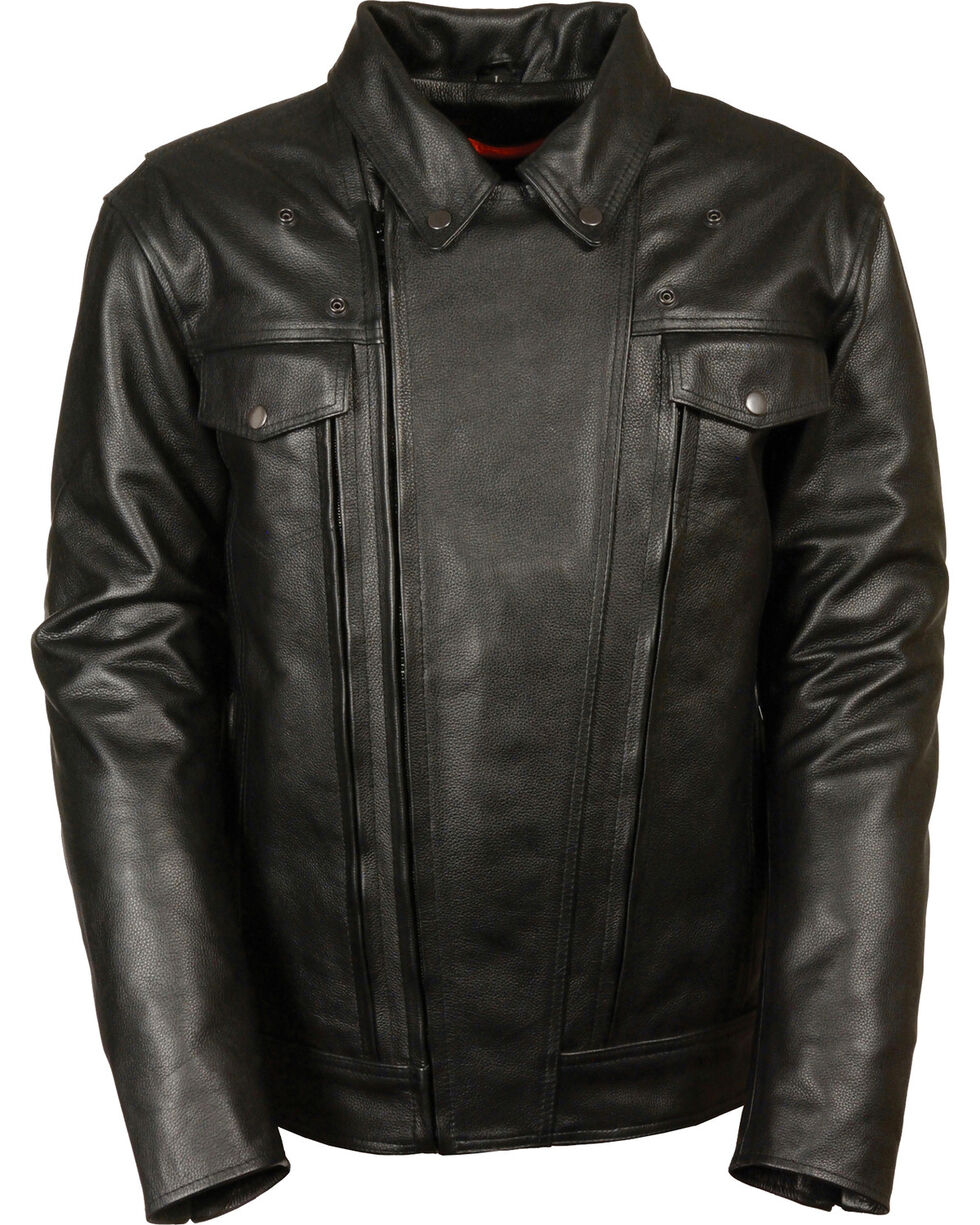 Milwaukee Leather Men's Utility Vented Cruiser Jacket - 5X, Black, hi-res