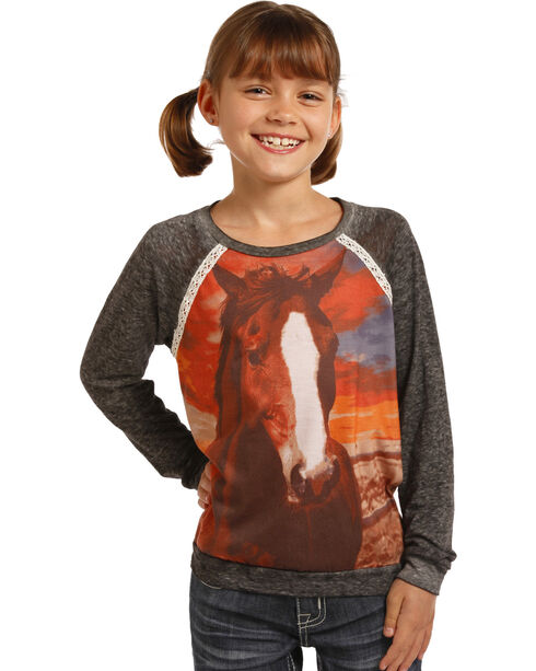 Rock & Roll Cowgirl Horse Print Long Sleeve Shirt, , hi-res