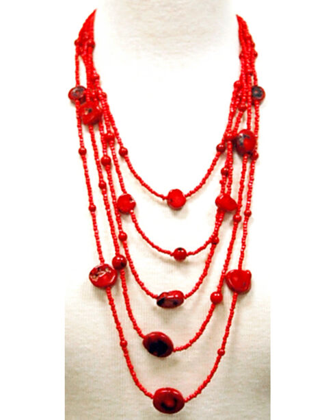 Isac West Layered Coral Stone Necklace, Coral, hi-res