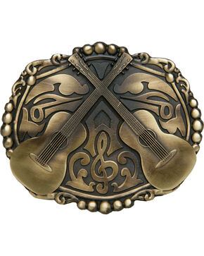 AndWest Bronze Dueling Guitars Belt Buckle, Brass, hi-res