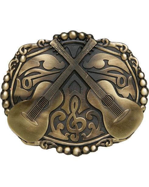 AndWest Bronze Dueling Guitars Belt Buckle, Brass, hi-res