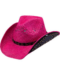 Peter Grimm Adette Fuchsia Studded Raffia Straw Cowgirl Hat, , hi-res