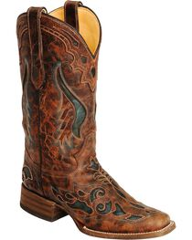 Corral Women's Square Toe Inlay Western Boots, , hi-res