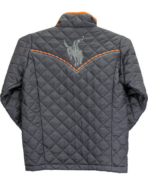 Cowboy Hardware Boys' Logo Quilted Jacket, Grey, hi-res