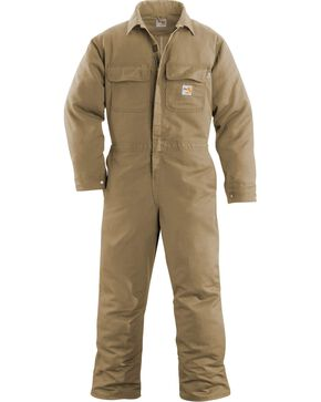 Carhartt Men's Flame Resistant Work Coveralls, Khaki, hi-res