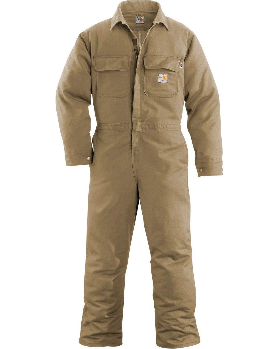 Carhartt Men's Flame Resistant Work Coveralls, Khaki, hi-res