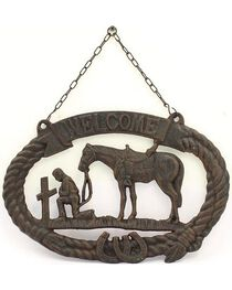 M&F Cast Iron Prayer Cowboy Welcome Sign, , hi-res