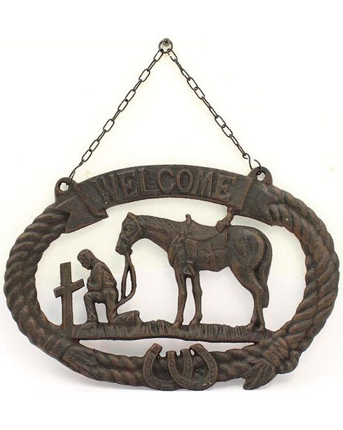M&F Cast Iron Prayer Cowboy Welcome Sign, Brown, hi-res