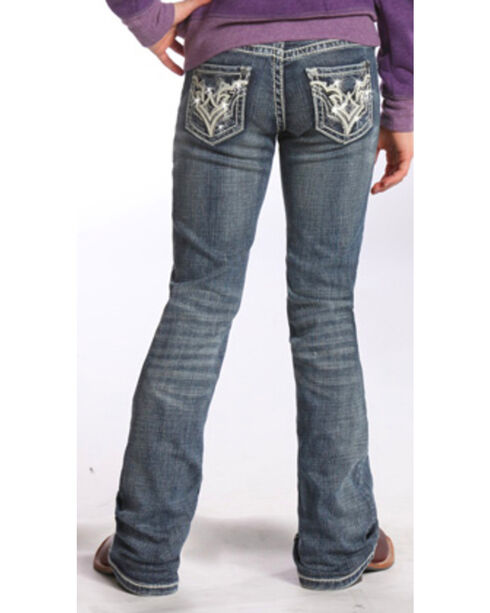Rock & Roll Cowgirl Girls' Indigo Diamond Stitched Jeans - Boot Cut , Indigo, hi-res