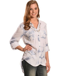 New Direction Sport Women's Blue Tie Dye Top, , hi-res
