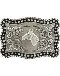 Nocona Men's Silver Horse Head Belt Buckle , , hi-res