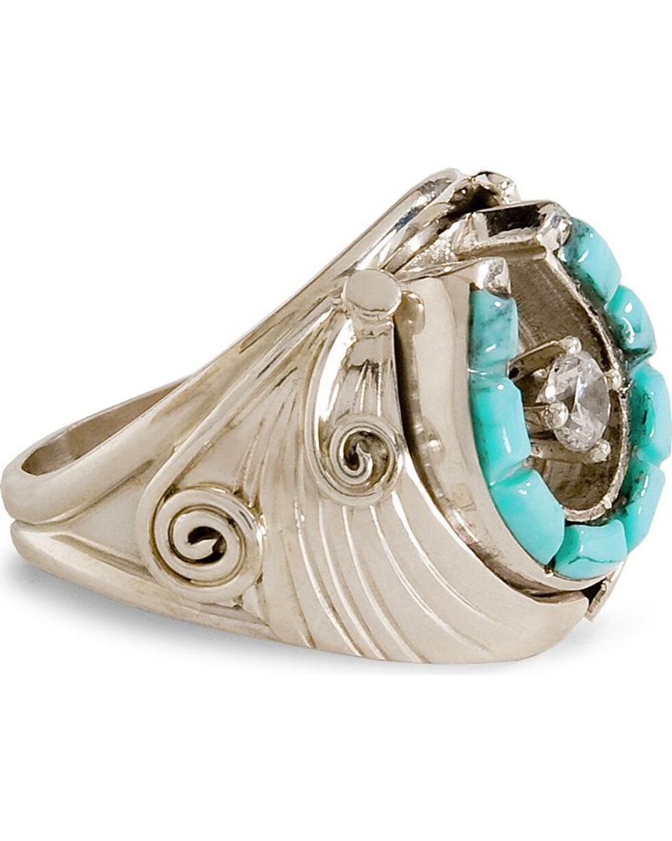 Handmade Turquoise Horseshoe Sterling Silver Ring, Silver, hi-res