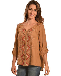 Tantrums Women's Camel Embroidered Lace Hi-Lo Shirt , , hi-res