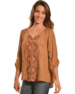 Tantrums Women's Camel Embroidered Lace Hi-Lo Shirt , Camel, hi-res