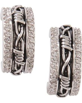 Montana Silversmiths Women's Rhinestone Hoop Earrings, Silver, hi-res