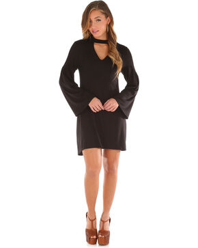 Wrangler Women's Choker Neckline Long Sleeve Dress, Black, hi-res