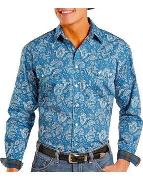 Panhandle Men's Torrazo Printed Long Sleeve Shirt, Navy, hi-res