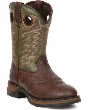 Durango Youth Boys' Olive Green Lil' Durango Cowboy Boots - Round Toe, Dark Brown, hi-res