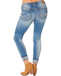 Silver Women's Girlfriend Mid Ankle Skinny Jeans  , , hi-res