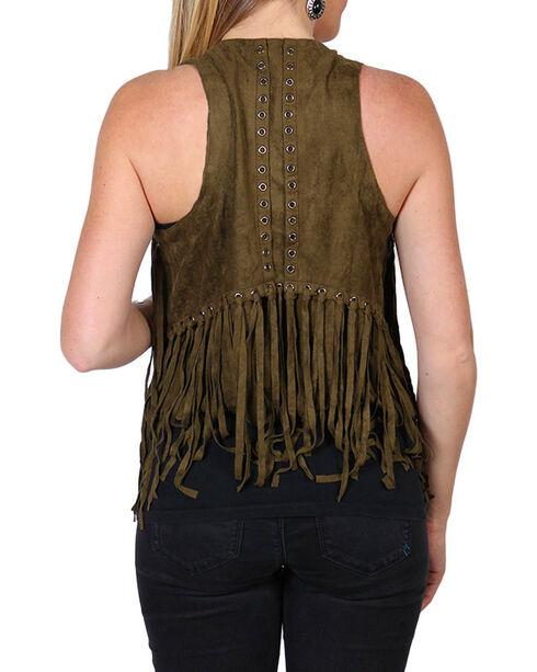 Vocal Women's Olive Faux Suede Fringe Vest, Olive, hi-res