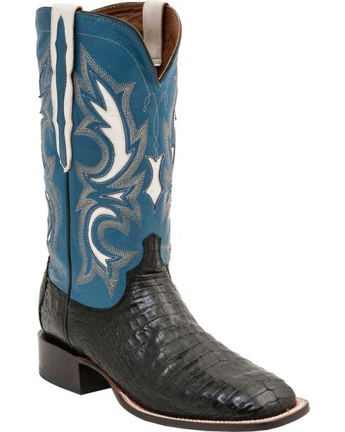 Lucchese Men's Shiloh Exotic Caiman Western Boots, Black, hi-res