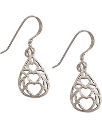 Silver Legends Women's Triple Heart Diamond Cut Dangle Earrings , , hi-res
