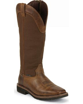 "Justin Men's Stampede Rugged 17"" Composition Toe Work Boots, Tan, hi-res"