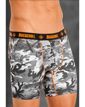 "Rock and Roll Cowboy Men's Grey Camo 6"" Boxer Briefs , Grey, hi-res"
