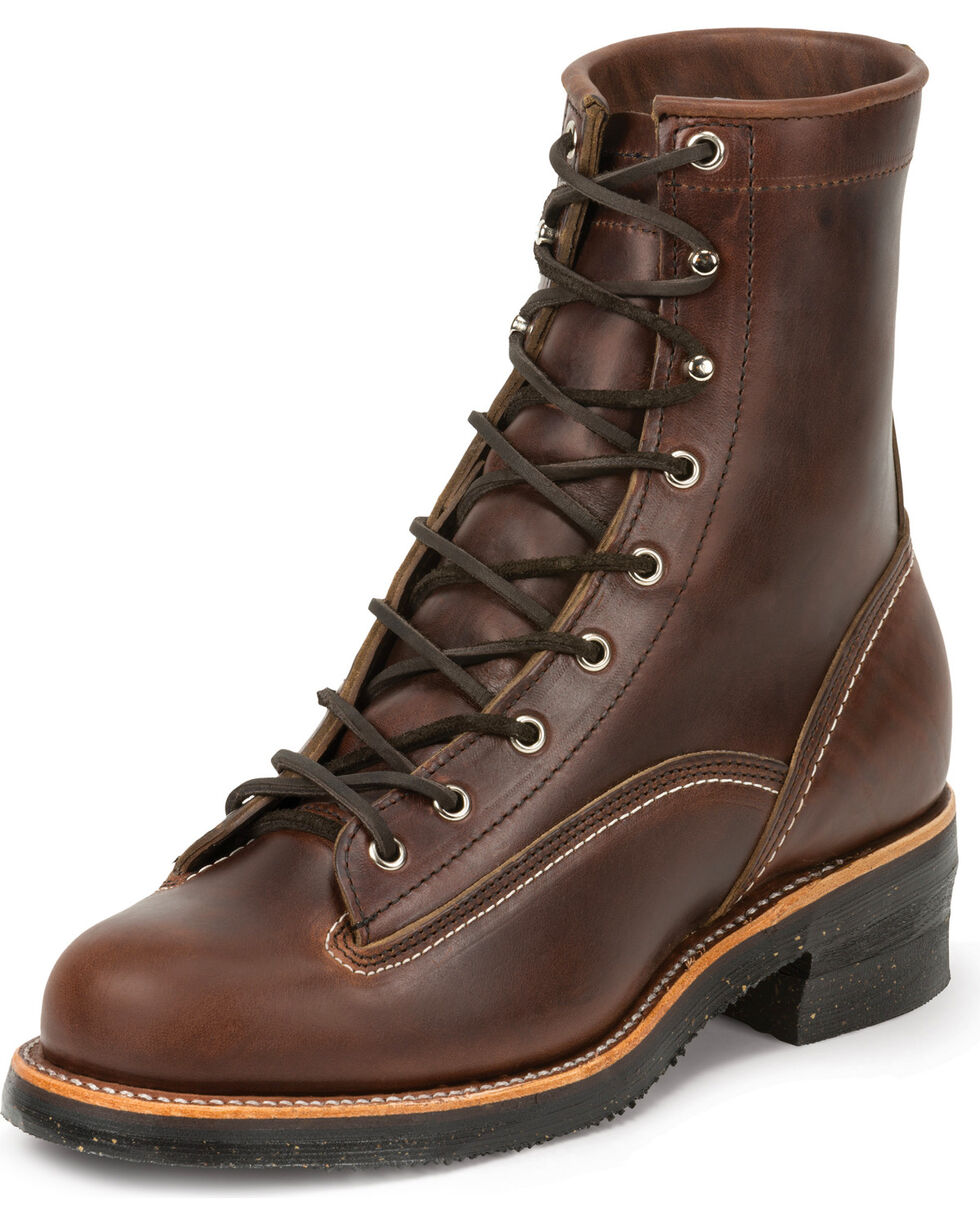 "Chippewa Men's 1935 8"" Original Lace to Toe Logger Work Boots, Chocolate, hi-res"