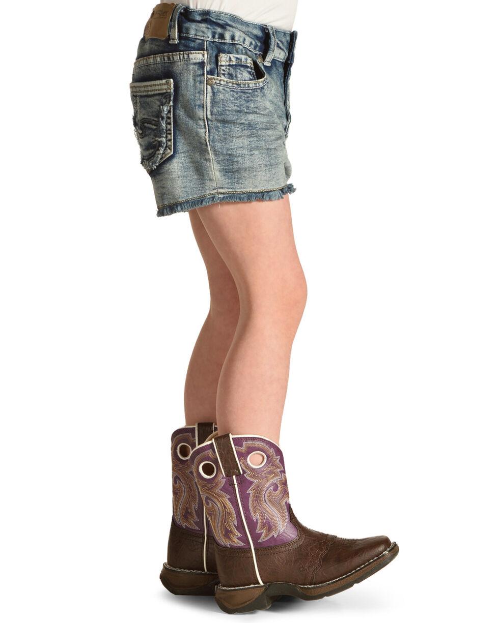 Silver Girls' Frayed Denim Shorts , Indigo, hi-res