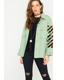 Polagram Women's Embroidered Army Jacket, , hi-res
