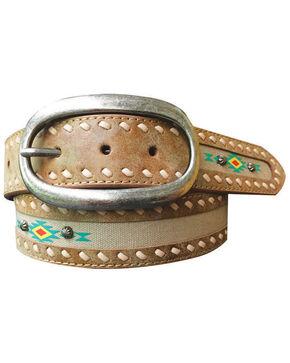 Roper Women's Aztec Print Fabric Inlay Distressed Leather Belt, Lt Brown, hi-res